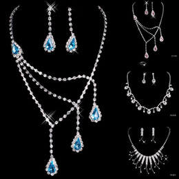Wholesale Cheap In Stock many style Wedding Jewelry Sets Silver Plated Necklace Earrings Sets Rhinestone Wedding Accessories sparkly