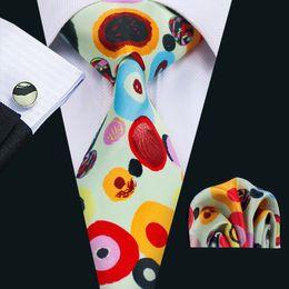 Men's Wedding Tie New Arrival Ivory Red Yellow Mixed Color Silk Necktie With Cufflinks Hanky Stylish Wide Classic Necktie N-1272
