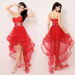 Red 2017 Cocktail Dresses Sweetheart Strapless Pleats Ruffles High Low Tulle Sexy Cocktail Party Dress Evening