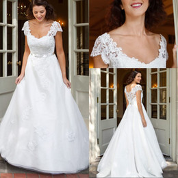 Fashionable A Line v Neck White Organza Wedding Dresses With Short Sleeve With Beaded Belt New Arrival Wedding Bridal Gowns