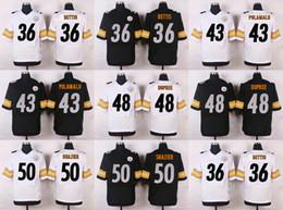 Wholesale 50 Ryan Shazier Franco Harris Joe Greene DeAngelo Williams Artie Burns Black White New Football Jerseys