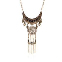 Wholesale 5 styles Bohemian ancient necklaces Carve patterns necklaces Multilayer tassel necklaces high quality jewelry statement chains pendants