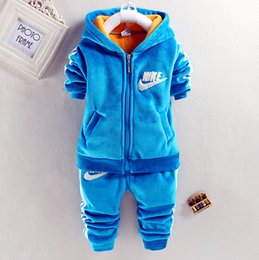 Wholesale Chidren Kids Boys Sportswear Clothing Set Autumn Winter Piece Sets Hooded Coat Suits Thickening Baby Boys sports Clothes Activewear Outfit