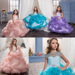 Arabic 2017 Sheer Neck Floral Flower Girl Dresses For Wedding Crystals Tiers Child Pageant Dresses First Communion Dresses Custom Made