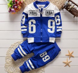 Wholesale baby boy clothes uniform baseball outfit design clothing kids sport sets children cotton jacket trousers years pc pack CQZ063