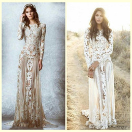 Wholesale 2016 Zuhair Murad Lace Vintage Wedding Dresses Custom Made Long Sleeves Court Train Beach Country Bridal Gowns Crew A line Stunning Lace