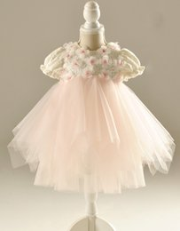 Tea-length jewel ball gown short sleeve tulle and lace Girl's Pageant Dresses Flower Girls' Dresses with the sash
