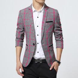 Wholesale M XL Spring Plaid blazer men Cotton unique mens blazers mens blazer jacket slim fit jaqueta men suit for men Coats Casual