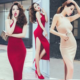 Wholesale Long knitting dress fashion sexy halter neck off shoulder High slit placketing slim knitted basic dress cheap clothes china