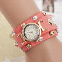 Wholesale 2015 Popular Ladies Rivet Punk Chain Belt Bracelet Watch Hot Retro Winding Watch Quartz Women Watch