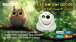 2017 dôme intérieur caméras ip Escam OWL QD100 IP mini caméra dôme infrarouge ONVIF HD 720p 1.0MP H.264 1 / 4CMOS P2P intérieur caméra CCTV IP abordable dôme intérieur caméras ip