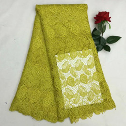 5yards pc Charming army green African cord lace with flower and leaf pattern water soluble lace fabric for party dress XW4-5