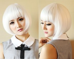 Free Shipping Heat Resistant >>New Womens Bob White Ladies Short Straight Halloween Cosplay Costume wig