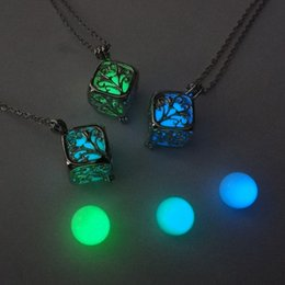 New Fashion Women Luminous Hollow out Locket Pendant Glow In The Dark Necklace Square box necklace Engagement Gifts Top Quality