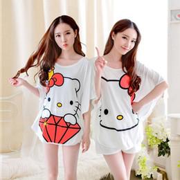 Wholesale Short Pyjamas Women - Cute pajamas sets with white color coffee cups printed women pajama sets Cotton Pyjamas Sleepwears Tops+Shorts Homewears women sleepwear