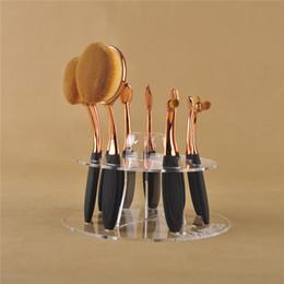 Wholesale 10pcs Toothbrush Oval Makeup Brushes Display Holder Stand Storage Organizer Brush Showing Rack Plastic Round Acrylic Cosmetic Organizer