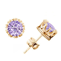 New arrival Top quality 925 sterling silver crown stud earring for girls and boys set with flash zircon