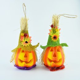 Wholesale 2016 LED Pumpkin Light Halloween Decoration New Convenient Scarecrow Lamp novelty Party Supplies kids party Toys EMS shipping E1471