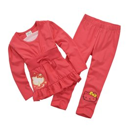 2016 Children Tracksuits 100% Cotton Brand New Girls Outfits Sweatshirts Trousers Kids T-Shirts Pants Sport Suit