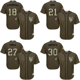 2017 Mens Womens Kids NY Mets Darryl Strawberry Lucas Duda Familia Michael Conforto Green Salute Service Cool Flex Baseball Jerseys Stitched