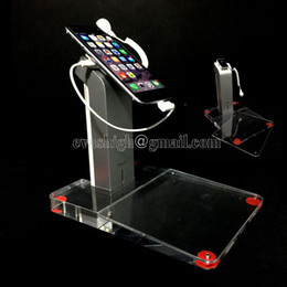 Wholesale 10pcs Retail cell phone security display stand mobile alarm acrylic holder burglar alarm anti theft for handhelds with clear price tag area