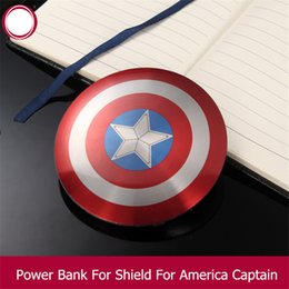 Wholesale Summer Hot Sale Retail Package For Avengers Captain America Shield Power Bank mAh USB Charging For All Mobile Phone