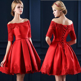 2017 Little Red Satin Homecoming Dresses A Line Off Shoulder Lace Appliques Pleats Mini Short Prom Party Gowns Celebrity Cocktail Dresses