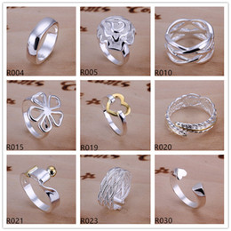 sterling silver Plated ring 10 pieces a lot mixed style EMR2,brand new burst models fashion 925 silver plate ring