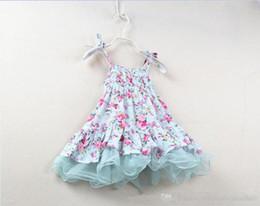 2017 Rural Flower Suspender Dress Girl Braces Skirt Girls Vintage Lace tutu Dress Kids Baby Ballet Princess Dresses Summer Children Clothing
