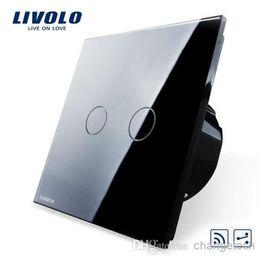 Livolo EU standard Remote Switch, VL-C702SR-12,2 Gang 2 Way Remote Control Wall Light Remote Switch, Black Crystal Glass Panel