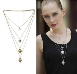 Wholesale European Fashion Ancient Metal Bohemia Multi layers Tassel Round Piece Crystal Heart Pendant Necklace For Women
