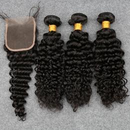 Descuento 7a encierro del pelo de la onda profunda Slove 7A Malasia Virgen Pelo Con Cierre 3 Paquetes Curly Tejer Cabello Humano Ola Profunda Con Cierre Wet Y Ondulado Sloce Hair Products