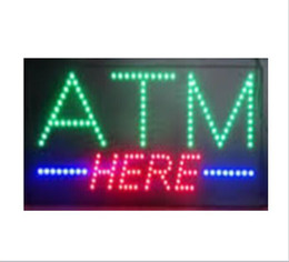 Wholesale 20PCS price x10 x0 Animated flashing come with on off button Multicolor led open sign board LED ATM here sign