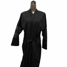 Wholesale Beauty Salon Uniform Spa Uniforms Hairdresser Salon Kimono Polyester Pongee D Fabric Black Color High Quality Free Shipment