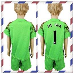 Wholesale Cheap Grass - Cheap Uniforms Kit Youth Kids Manchester #1 De Gea #50 Johnstone #20 S.Romero 2016-2017 Goalkeeper Soccer Jersey Green Jerseys