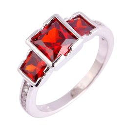 Wholesale Fashion 925 Women Silver Rings Size 6 7 8 9 10 11 Garnet Red Jewelry Delicate Princess Cut Free Shipping