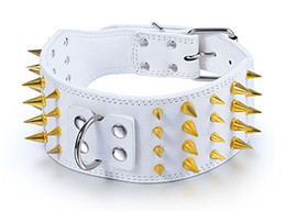 "3"" leather golden spiked collars leather collars dog collar for PitBull Mastiff free shipping"