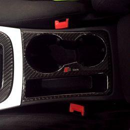 Wholesale New Design Carbon Fiber Cup Holder Decorative Frame Cover Trim S RS S line Emblem Sticker For Audi A4 B8 A5