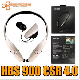 Wholesale hbs hbs900 bluetooth handfree headset for Iphone plus csr v4 quality stereo wirless earphone bass effect hifi sound neckband earplug