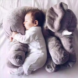 Wholesale Top Quality elephant pillow baby doll children sleep pillow birthday gift INS Lumbar Pillow Long Nose Elephant Doll Soft Plush Fast Shipping