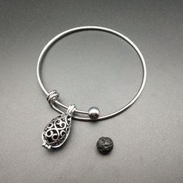 Bracelet and pearl cage pendant, provide production, drip essence oil diffuser, Tibet silver 2pc, add volcanic rock to make it more attracti