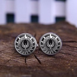 Wholesale Battlestar Galactica Glass Dome necklaces silver vintage movie gift jewelry send of friend High Quality shirt Cufflinks jewelry