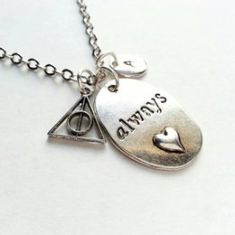 Wholesale antique Silver Harry Potter Inspired Always Necklace Deathly Hallows Hand Stamped Initial Personalized necklace