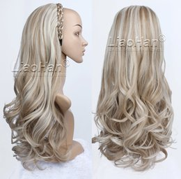 Wholesale Fashion Half Wig Fall Long Wavy Brown Blonde Highlight Hair Fall with Braided Hairband Synthetic Wig for Women Color H16