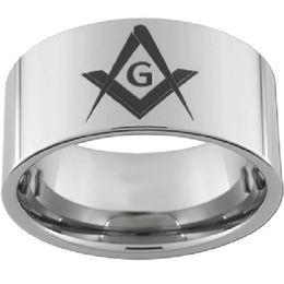 Size 7-15 10MM Stainless Steel Masonic Band Ring Mason Master Knight Templar Freemason Cocktail Party Father