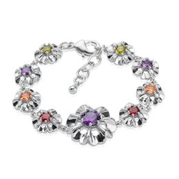 Dainty Flower Charm Bracelet 18K White Gold Plated Bracelet Multicolor Zircon Bracelet for Women Adjustable Chain