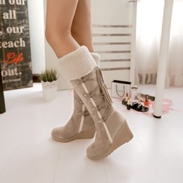Wholesale 2016 Winter Fashion Scrub Snow Boots Wedges Knee high Slip resistant Boots Thermal Female Cotton padded Shoes Warm Plush Shoes