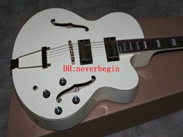 White Custom Shop Hollow Jazz Electric Guitar Gold Hardware Free Shipping