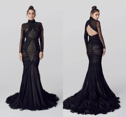 Wholesale Mermaid Con Ilio Arabic Evening Dresses Black Luxurious Pearls Long Sleeves Prom Dresses Tulle Backless Evening Gowns