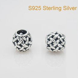 Wholesale Fits Pandora Bracelet Charms OPENWORK BASKETWEAVE CHARM DIY Beads Solid Silver Not Plated